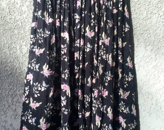Black/pink floral cotton maxi skirt