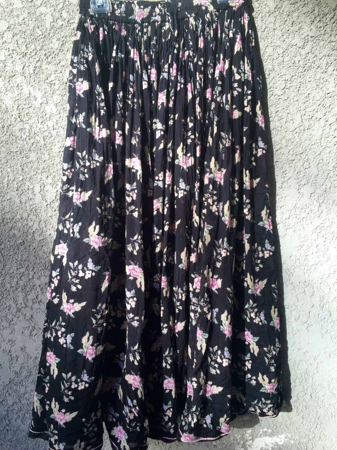 black pink floral cotton maxi skirt