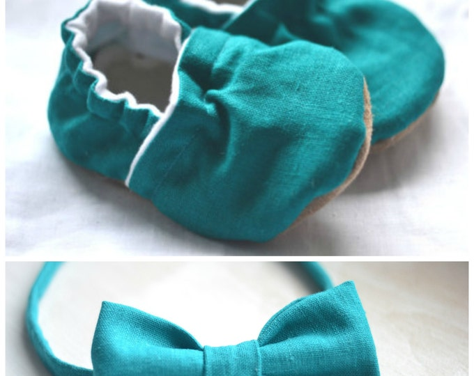 gift set baby shoes bow tie gift for kid accessories baby shower gift linen cloth emerald baby shoes green kids bow tie green clothing boy