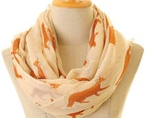 Voile Fox Infinity Scarf Summer Shawl Loop Circle Hijab Scarves Wraps Adult/Child/Toddler Scarf (S-54)