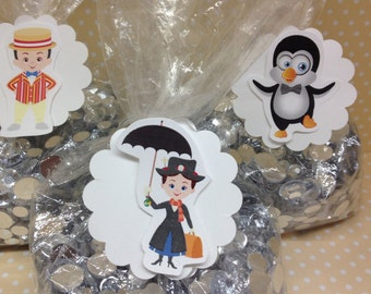 Mary Poppins Party or Favor Bags with Tags - Set of 10