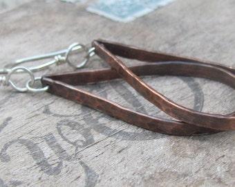 Copper Hoop Earrings, Copper Jewelry, Boho Hoop Earrings, Hand Stamped Earrings, Copper Earrings