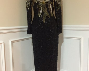 Vintage Alyce Designs black beaded evening gown Size 6 80s/90s
