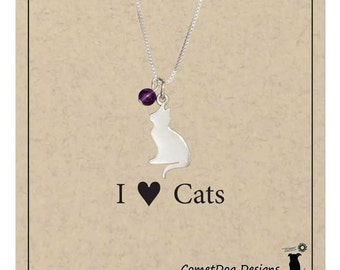Sterling Silver Cat Pendant Necklace with Amethyst Bead