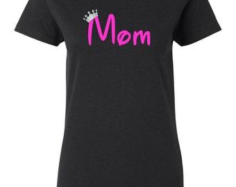 Mom Shirt With Silver Crown Women's T-shirt Black Violet Blue Birthday Hippy Boho ladies graphic Tee 0073