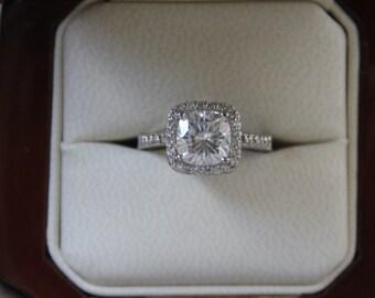 2.20 CT Cushion Forever One Moissanite & Diamond Halo Engagement Ring 14k White Gold, Moissanite Engagement Ring, Engagement Rings for Women