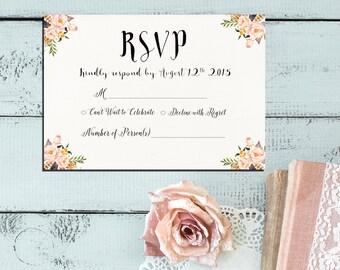 Printable RSVP wedding card, Digital Files, Floral Pink and Ivory wedding, Bridal Shower DIY Wedding - PF-18