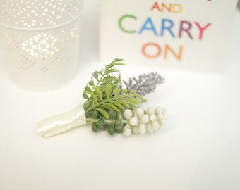 Fern and Lavender Wedding Boutonniere