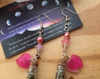 Witch bottle Earrings with flowers