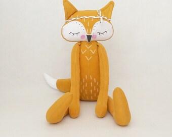 MiMiu Sleepy Fox toy, softie baby gift, fox soft toy, boho style fox,Plushie soft stuffed Toy for kids, Children's Day