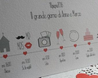 "10 Timeline - Infographic wedding program ""Hipster wedding"""