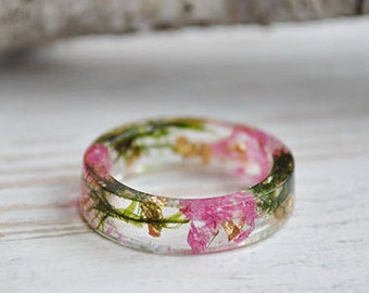 nature rings, nature inspired rings,  resin ring flower, resin ring , eco resin, eco resin ring,eco flower,  flower ring, terrarium ring