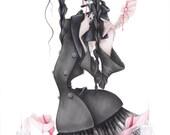 fashion illustration halloween Wednesday Addams art print