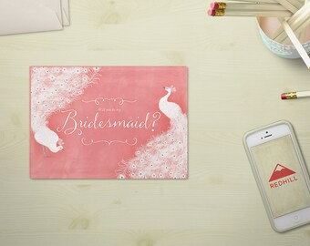 Will you be my bridesmaid?  - tarjeta anuncio de boda, invitación madrina - dama de honor, fiesta de la boda, rosa cuarzo, descarga digital