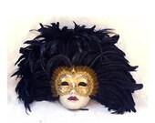 Maschera Veneziana con piume per Uomo - argento o oro F08/F09/F10