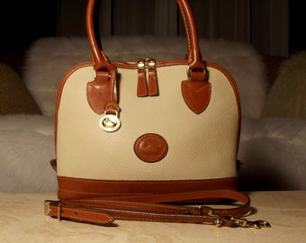 Rare Dooney & Bourke All Weather Leather Bone/British Tan Domed Satchel/Crossbody Tote Zip-ZIP: Pristine Boho Luxe ONLY 5.99 SHIPPING!