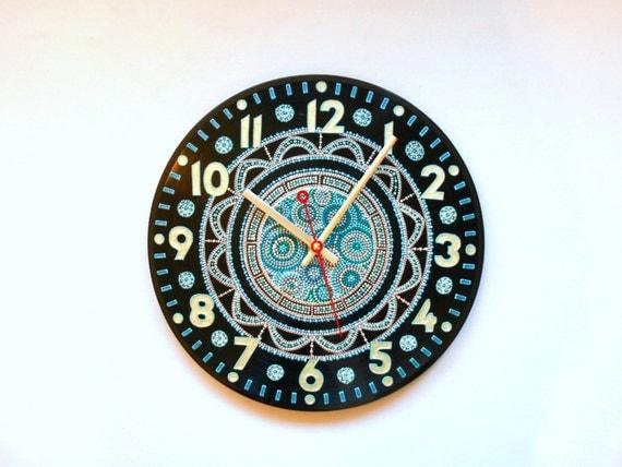 Home Wall Clock Ideas: WALL CLOCK Henna Home Decor Gift Living Room Bohemian Artwork