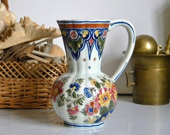 "Vintage Delft Polychrome Ceramic Pitcher, Hand Painted Flowers, Numbered and Marked ""De Delftse Pauw"", Art Pottery Holland"