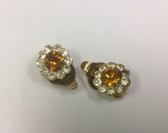 Vintage, 1940s, citrine paste clip on earrings.