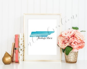 Tennessee State Teal Ombre Watercolor Printable Art. Tennessee State Love Printable. Tennessee Silhouette Outline Watercolor State.