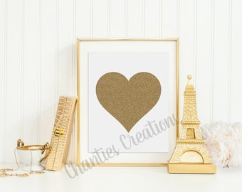Gold Glitter Heart Printable Wall Art 8x10 and 11x14