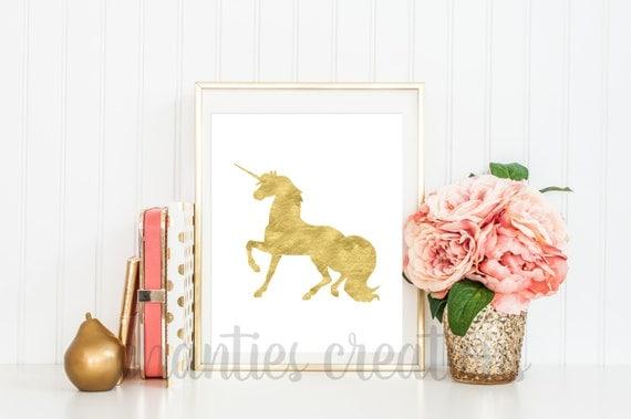 Unicorn Gold Foil Printable Wall Art Unicorn Home Decor Wall Art Magical Unicorn Printable
