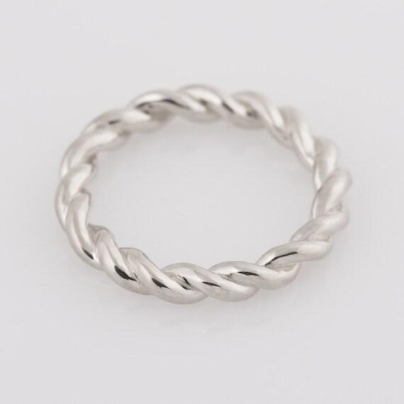 rope braided ring 14k white gold ring wedding ring gold