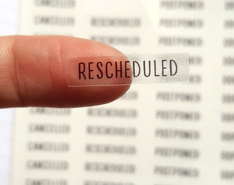 Clear Rescheduled Stickers, Clear Stickers, Cancelled Stickers, Rescheduled Planner Sticker, Transparent Stickers, ECLP, Header Stickers