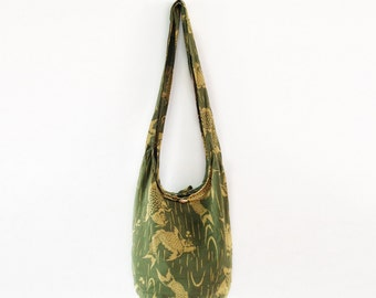 Fish Print Sling Shoulder Bag CrossBody Bag Cotton Hippie Boho Style Handmade Green