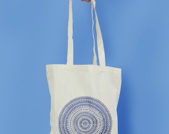 Mandala pattern illustration screen printed tote bag
