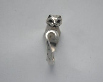 Cat silver ring, vintage cat ring, vintage silver cat rings, vintage animals rings, vintage animal ring, vintage rings, cat lovers, cat ring