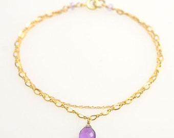 Amethyst Double Chain Bracelet - 14k Gold Filled