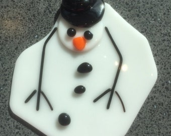 Florida Snowman Fused Glass Ornament
