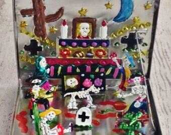 Tin Fold-Out , Pop Up Day of the Dead Altar, Nativity, Mexican Folk Art