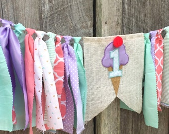 Ice cream invite, ice cream party, ice cream birthday, ice cream themed, ice cream highchair banner, ice cream photo prop, ice cream decor