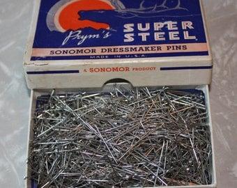 Retro Prym's Super Steel Sonomor Dressmaker Vintage Pins and Box