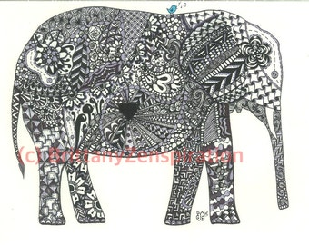 Grey, Black and White Elephant Zendoodle (Ink Drawing) Zentangle Inspired Printable Art