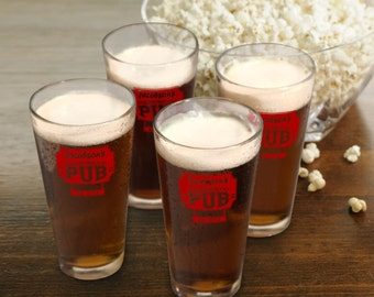 Personalized Beer Glass Set - Neighborhood Pub Pint Glasses - Set of 4