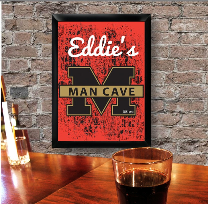 Engraved Man Cave Signs : Personalized man cave sign bar decor
