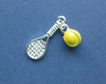 2 Tennis Racket Charms - Tennis Racket Pendants - Tennis Charm - Bright Silver and Enamel - 25mm x 9mm  -- (Y5-10601)