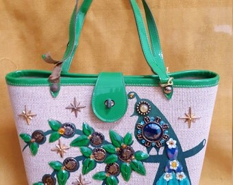 "Vintage 1960's Enid Collins ""Money Tree"" Purse, Bejeweled, Top-Handle"