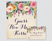 Guess How Many Kisses Bridal Shower Game - Printable Floral Bridal Shower Kisses Guessing Game - Shabby Chic Garden Kisses Guess Game 0002-A