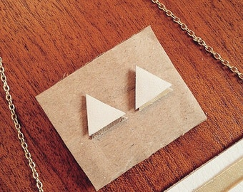 White and gold real leather geometric  triangle earrings.