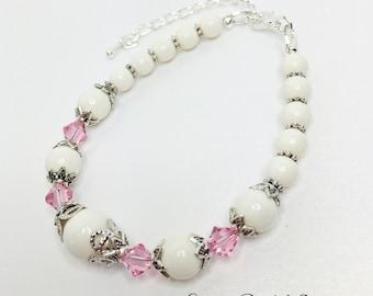 Ivory Wedding Bracelet Pink Crystal Bridal Jewellery Ivory and Crystal Bridesmaid Bracelet Swarovski Crystal Gift Vintage Style Bracelet