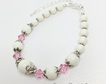 Set of 5 Ivory Pink Bracelet Pink Crystal Bridal Jewelry Ivory and Crystal Bridesmaid Gift Swarovski Crystal Vintage Style Wedding Bracelet
