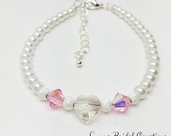 Swarovski Heart Bracelet White Pearl and Pink Crystal Bridal Jewellery Pink Bridesmaid Gift Wedding Party Gift Mother of the Bride Gift