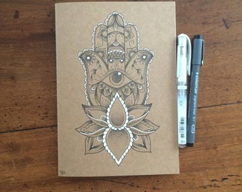 A5 Hand Illustrated Exercise Book/Sketchbook/Journal // Dotwork Lotus Flower // Hamsa Hand // Original Artwork // Gift Idea