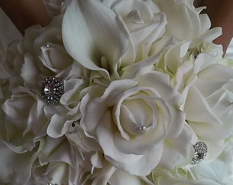 White Real Touch Wedding Bouquet-White Bridal Bouquet-Calla Lily and Rose Bouquet-Silk Flower Wedding Bouquet