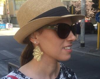 Big Fan Vintage Style Earrings , Gold plated filigree earrings , Gift for her.