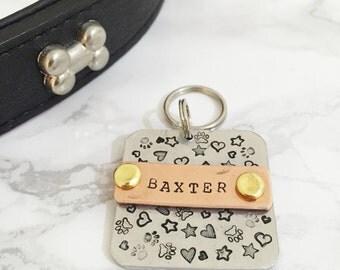 Personalised 'Graffiti' Dog Tag - Modern dog ID tag - Mixed Metal Pet Tag